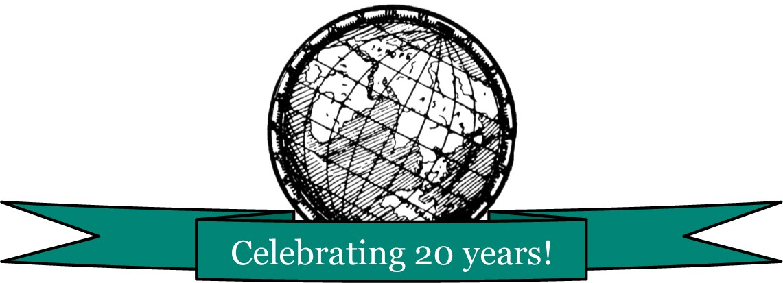 "Globe logo surrounded by a turquoise banner that says ""Celebratin 20 years!"""