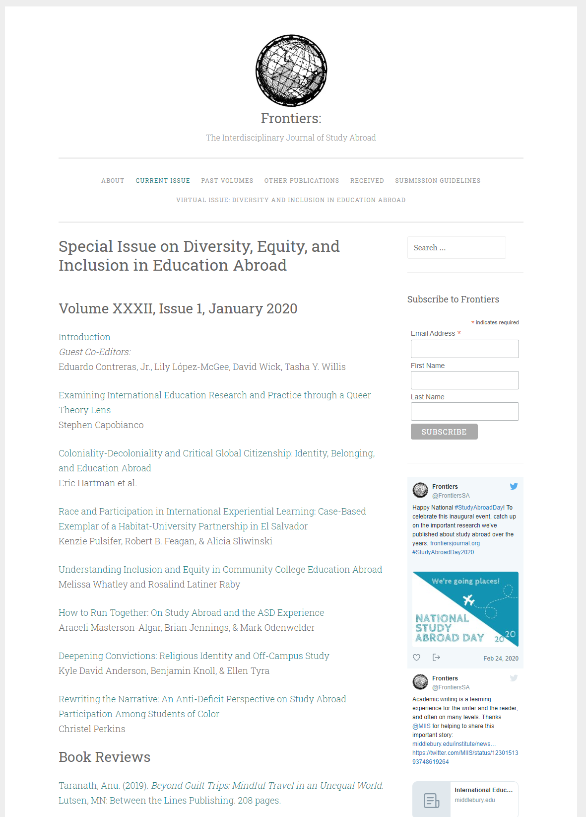 screenshot of original web publication of Special Issue on Diversity, Equity, and Inclusion in Education Abroad