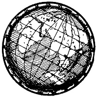 black and white globe logo